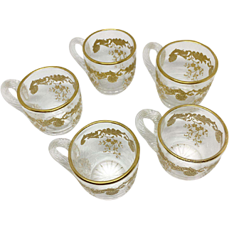 St. Louis crystal and gold enamel miniature cups
