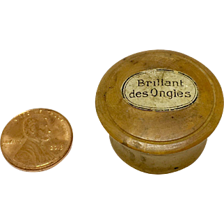 Miniature French wooden box with paper label