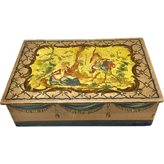 Antique wooden box with hand-painted and paper details