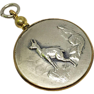 German photo charm or locket with repousse mountain goat