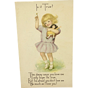 Postcard girl with doll by Gibson Art Company