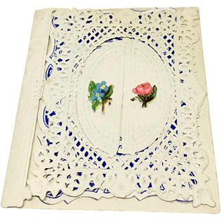 Antique doll size paper lace Valentine by Meek