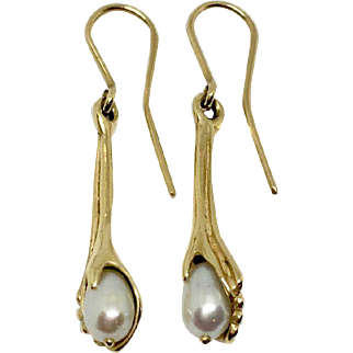 Vintage 14K gold and cultured pearl earrings