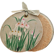 Silk needle case with hand painted flowers