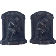 Cast iron bookends 'The Thinker'