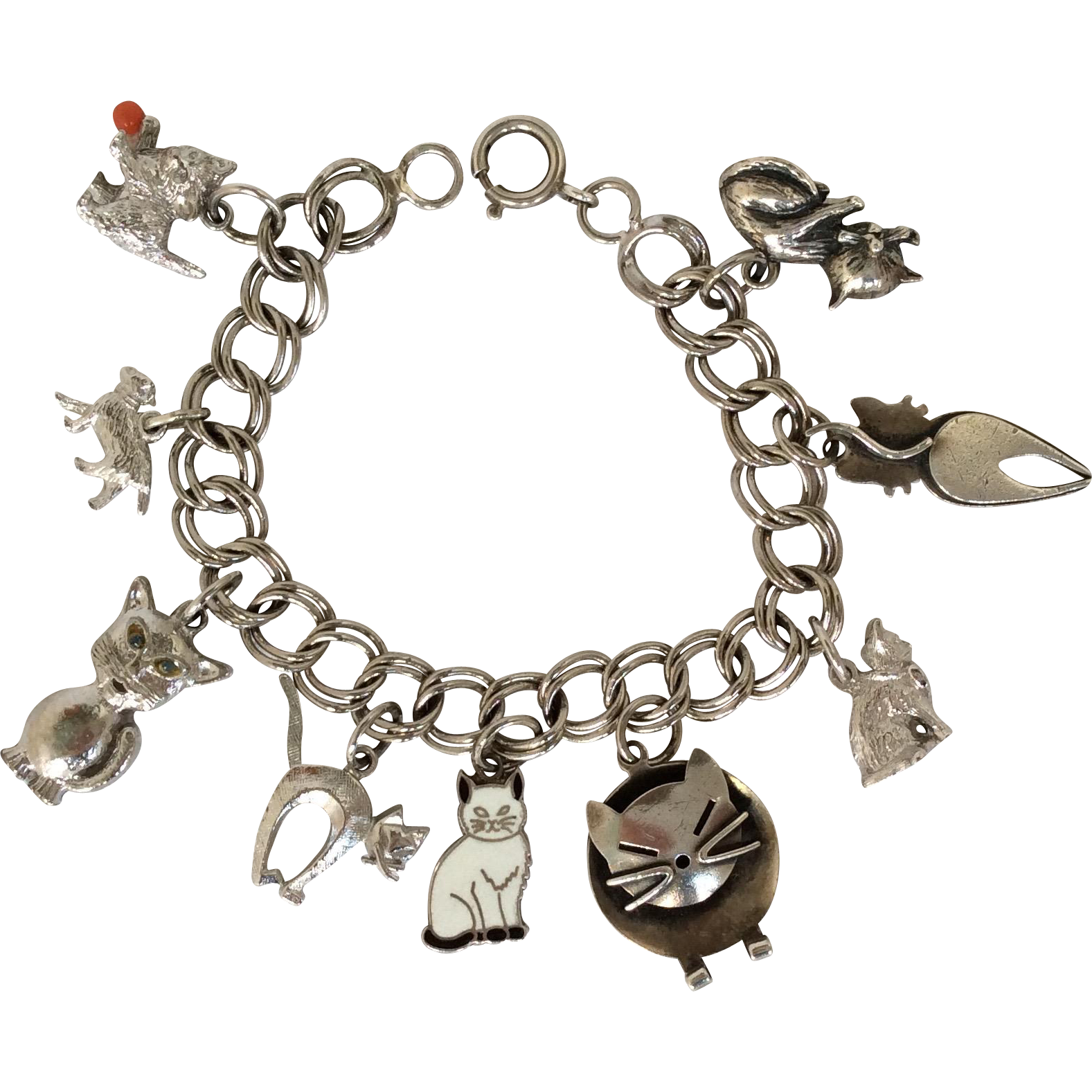 Vintage sterling silver cat charm bracelet from caldwells on Ruby Lane