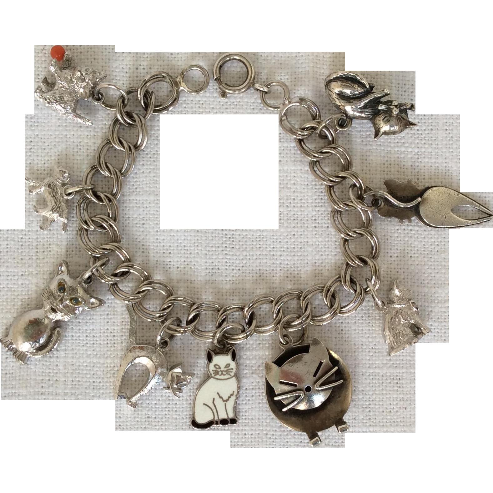 Vintage sterling silver cat charm bracelet from caldwells on Ruby Lane