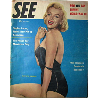 Vintage 1955 See Magazine Marilyn Monroe Cover Sophia Loren Pin Up Bathing Suit