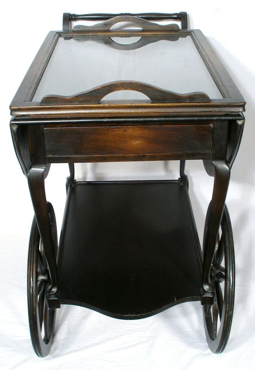 Vintage Mahogany Wagon Wheel Drop Leaf Tea Serving Cart