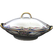 Carl Tielsch C.T. Altwasser Silesia Germany China Covered Casserole / Vegetable Bowl With Double Gold Handles