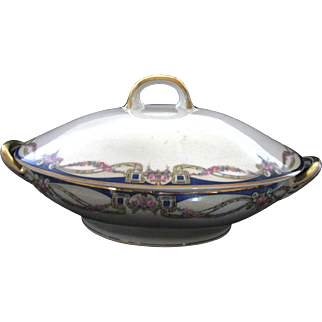 Antique Carl Tielsch C.T. Altwasser Silesia Germany China Covered Casserole / Vegetable Bowl With Double Gold Handles