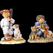 Vintage Figurines Gregory Perillo The Big Leaguer And The Quarterback MINT W Box & COA