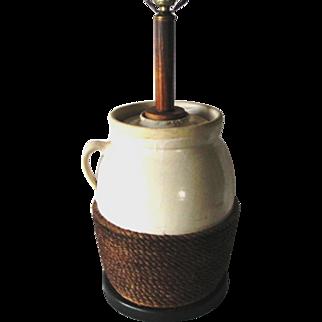 Knob Creek Bourbon Pottery Stoneware Butter Milk Churn Rustic Table Lamp Light