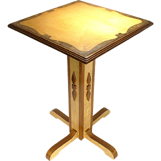 Vintage Prison Folk Art Hand Crafted Burl Wood Inlaid Pedestal Side Phone Table