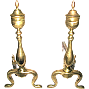 Antique Logan Cabriolet Leg Queen Anne Regency Style Urn Brass Andirons Fire Dogs