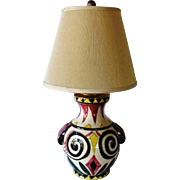 Vintage Picasso Aztec Style Abstract N.Y. Pottery Table Parlor Moriage Art Lamp
