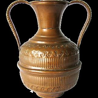 Antique Copper Ornate Hand Hammered Fluted Double Handle Pot Art Vase Vessel