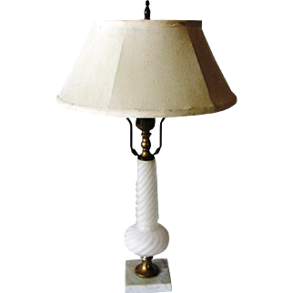 Art Deco Luminescent Frost White Barley Twist Glass & Marble Table Desk Lamp