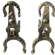 Unique Cowboy Style Antique Arts And Crafts Horse Shoe Andirons With A Horse Medallion