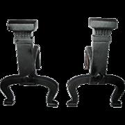 Antique Roman Column Pillar Arts & Crafts Bold Rectangular Andirons Fire Dogs