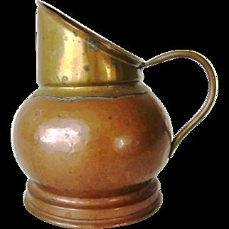 Antique Hand Crafted Copper Brass Dinanderie Veritable Belgium Milk Cream Pitcher