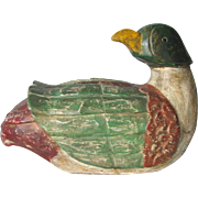 Antique Folk Art Hand Crafted Carved Old Paint Wood Primitive Mallard Duck Decoy