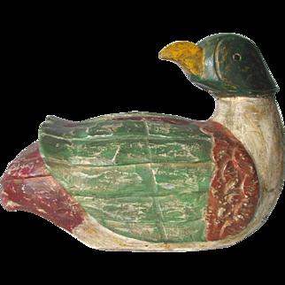 Antique Folk Art Hand Crafted Carved Old Paint Wood Primitive Mallard Duck Decoy