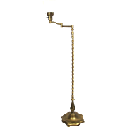 Vintage Barley Twist Swing Arm Bronzed Brass Floor Lamp With Urn Accent