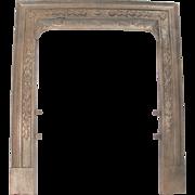 Antique Ornate Floral Design Victorian Cast Iron Fireplace Door Frame Surround