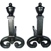 Antique Victorian Urn Ball Finial Scroll Cast Iron Andirons Old Fire Dogs