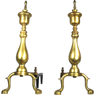 Antique Brass Claw Feet Rooster Spur Chippendale Style Fire Place Andirons Fire Dogs
