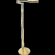 Vintage Brass Mid Century Modern Deco Scan Design Style Swing Arm Bridge Floor Lamp