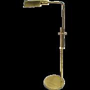 Vintage Mid Century Modern Swing Arm Adjustable Brass Floor Lamp With Dimmer Light