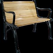 Vintage Cast Iron Oak Wood Floor Slat Patio Garden Porch Chair Bench Love Seat