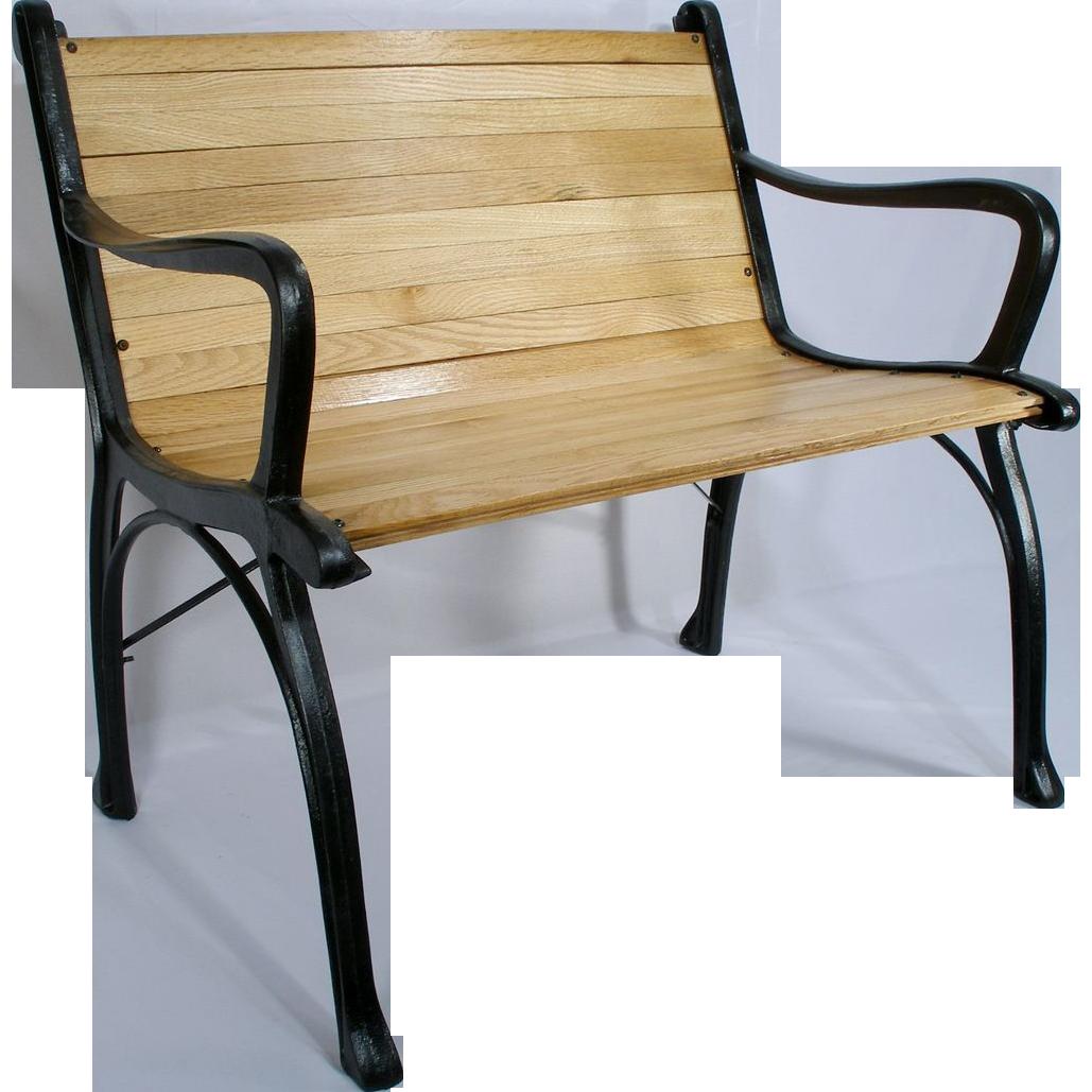 Vintage Cast Iron Oak Wood Floor Slat Patio Garden Porch