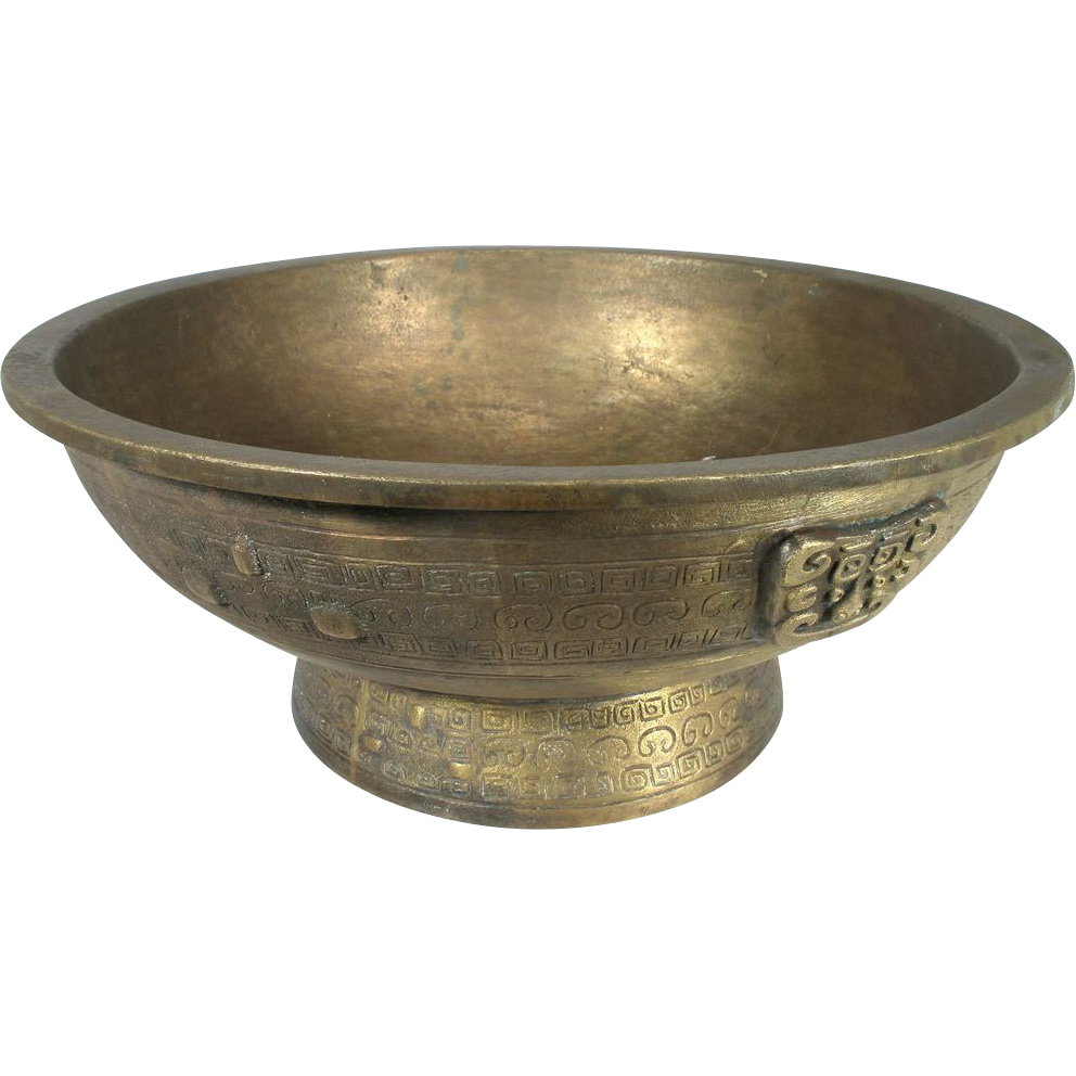 vintage heavy solid brass greek key ornate bowl jardinière planter
