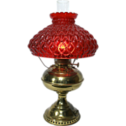 Vintage Victorian Style Gone W/ The Wind Style Brass Table Lamp Light Red Glass Shade