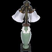 Lenox Pottery Celadon Green DAV Art Brass Base Light Table Parlor Boudoir Lamp