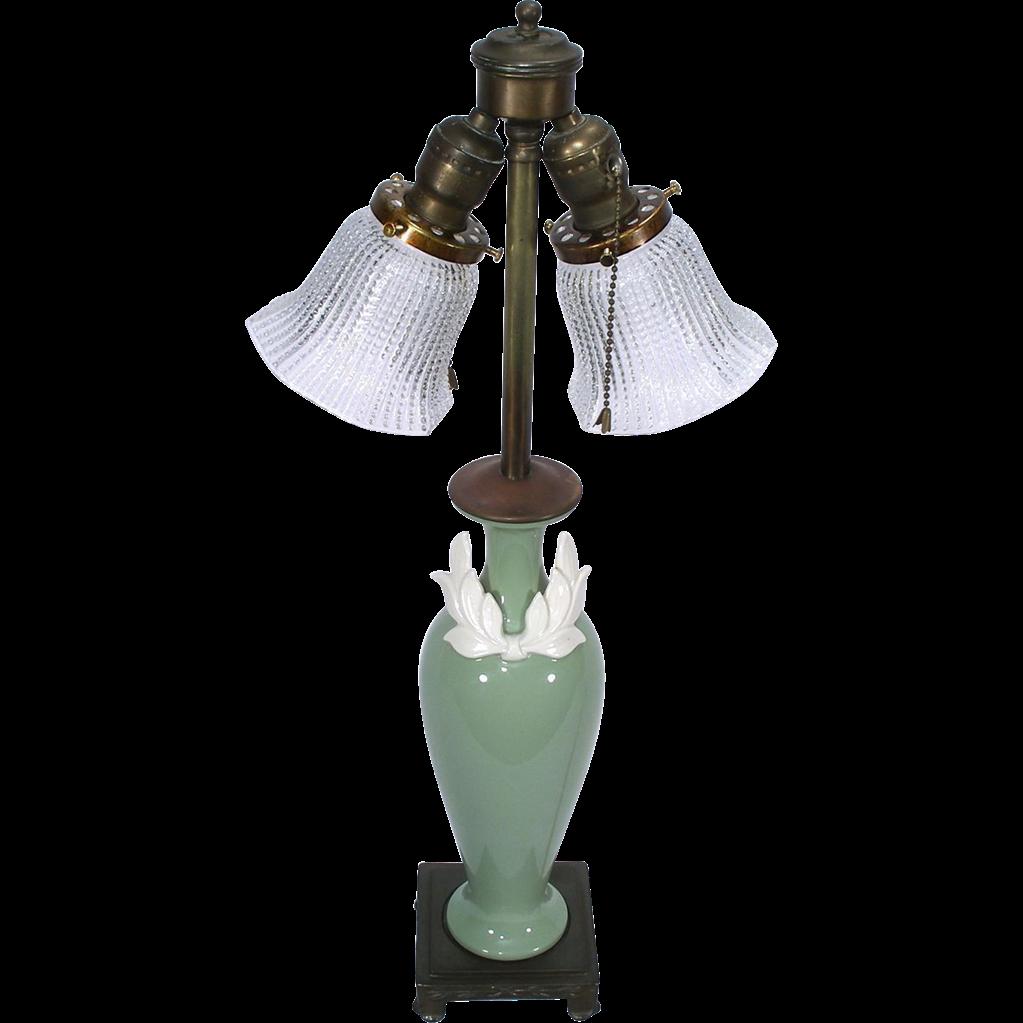 Lenox pottery celadon green dav art brass base light table parlor lenox pottery celadon green dav art brass base light table parlor boudoir lamp geotapseo Image collections