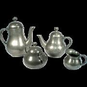 Kdm Daalderop Royal Holland Pewter Art Deco Tea Coffee Pot Sugar Cream Service