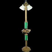 Vintage mustard glass art deco cast iron smoking stand floor lamp light