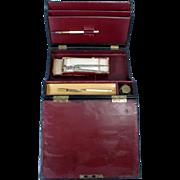 Vintage Art Deco Portable Travel Letter Writing Box Eagle Compass Ink Bottle Pens & Nib