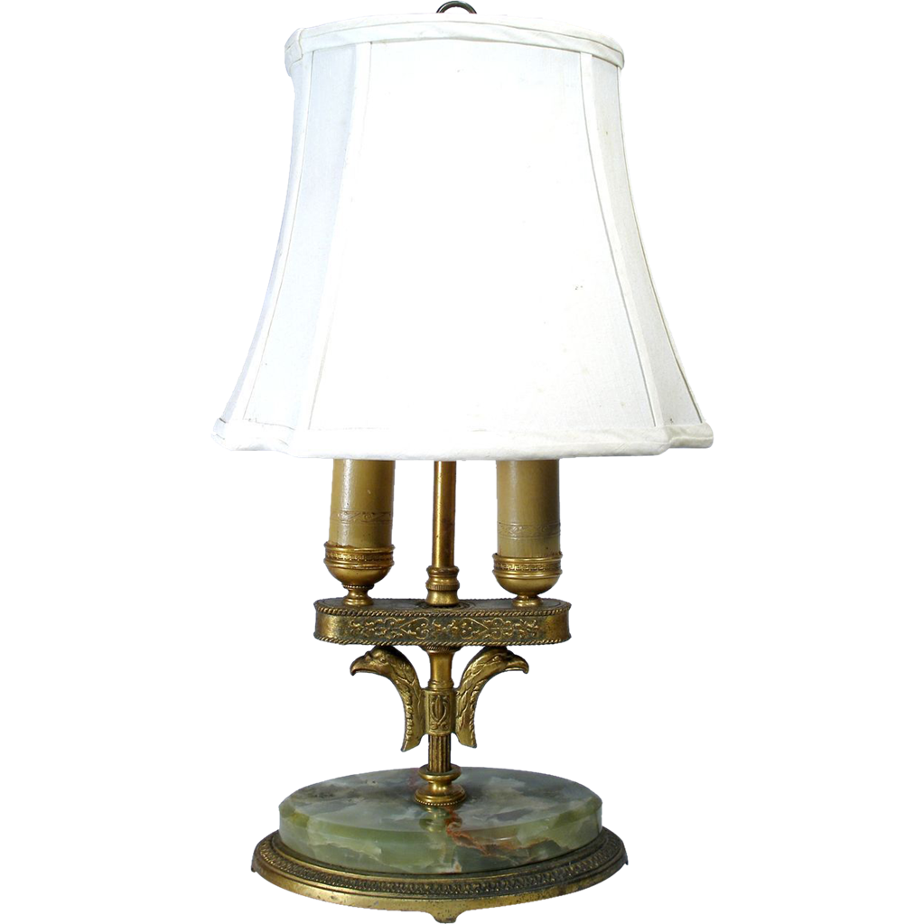 Old american eagle marble amp solid brass candle boudoir table desk lamp