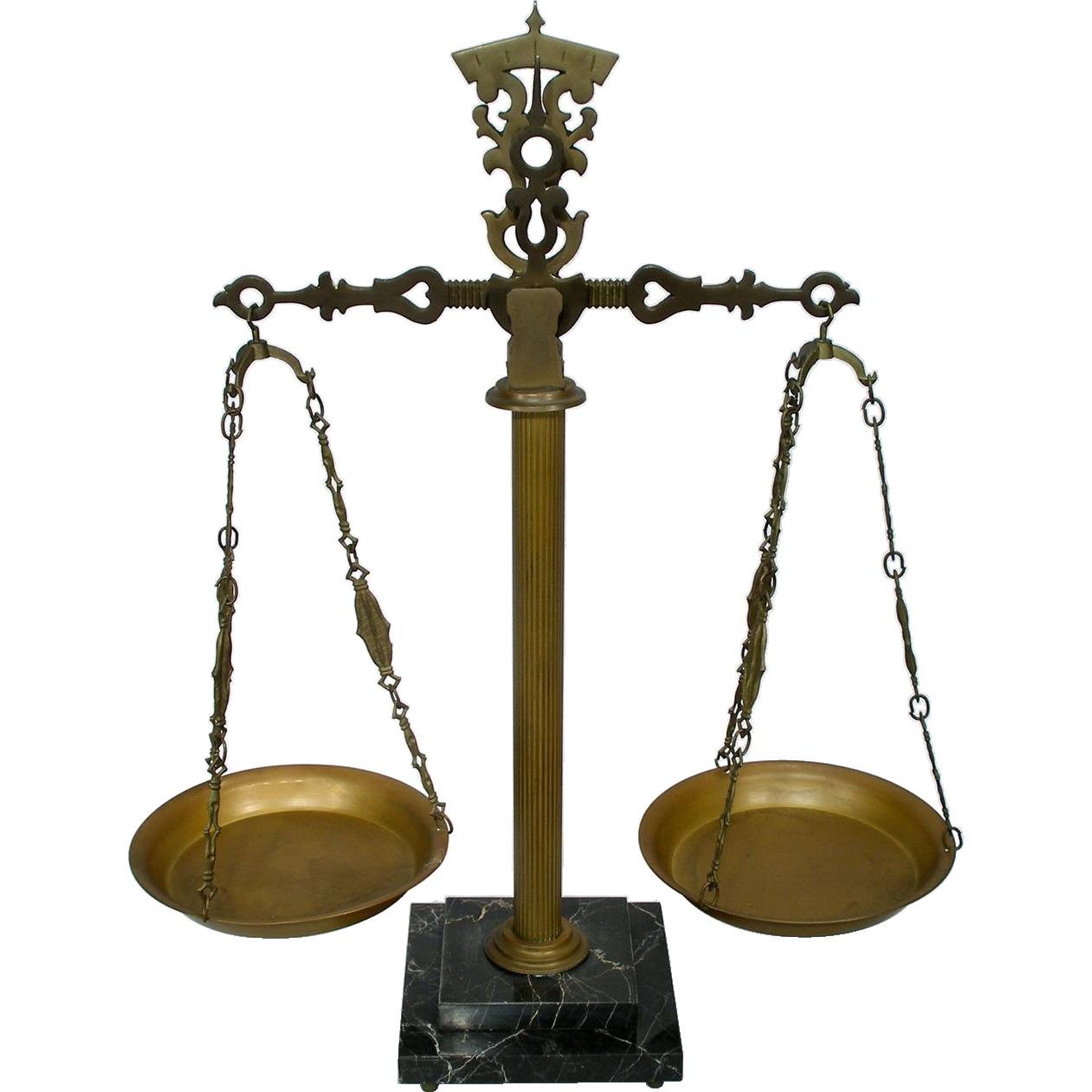 Vintage Arts & Crafts Brass Marble Base Fluted Pillar Balance Beam Decorative  Scale