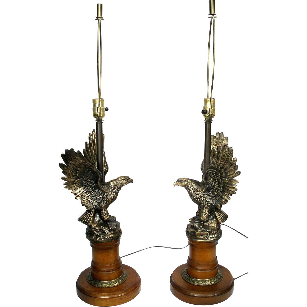 Vintage Brass Old American Eagle Statue Winged Large Table