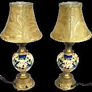 Vintage Set Of 2 Porcelain Grecian Urn Nude Cherub Dancers Parlor Table Lamps