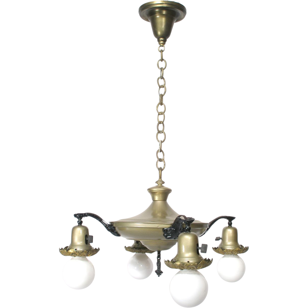Vintage 4 Bell Dome Light Pan Flying Saucer Style Chandelier – Bell Chandelier