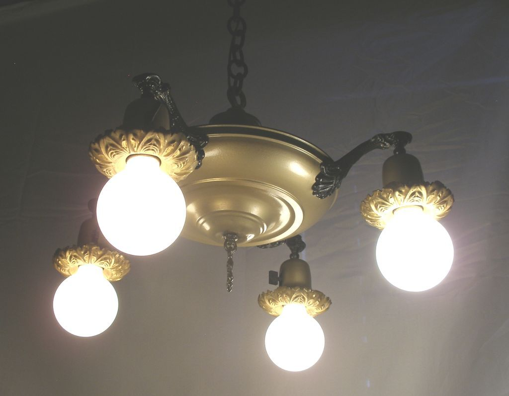 Vintage 4 bell dome light pan flying saucer style chandelier roll over large image to magnify click large image to zoom arubaitofo Images