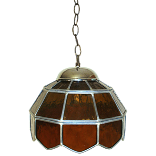Vintage 1950 Amber Art Glass Leaded Ceiling Hanging Lamp Light Shade Chandelier