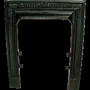 Antique Victorian Cast Iron Ribbed Sparkle Black Fireplace Door Frame Surround